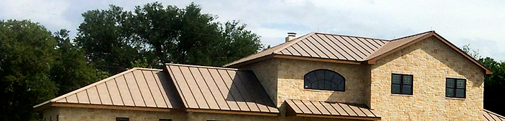 Standing Seam Roofing, Aged Copper
